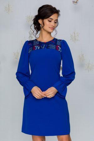 Rochie scurta albastra eleganta de ocazie cu broderie la bust Moze