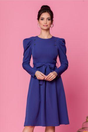 Rochie de ocazie albastra midi eleganta cu umeri bufanti si maneci lungi Moze