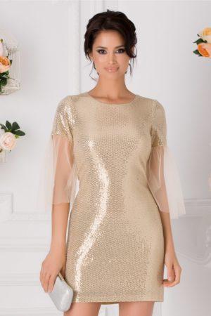 Rochie de club scurta sexy bej cu paiete aurii si tull la maneci Moze