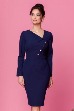 Rochie de ocazie bleumarin cu maneci lungi si decolteu in V modern Moze