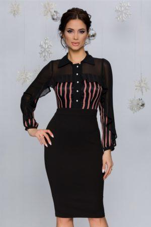Rochie de ocazie conica neagra midi eleganta cu dungi caramizii la bust Moze