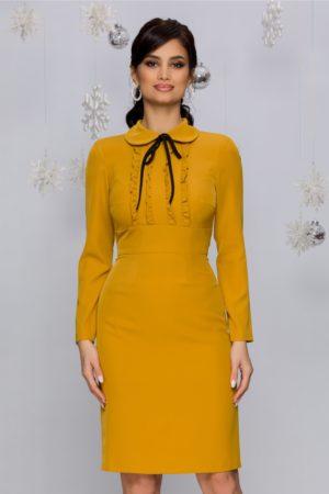 Rochie de ocazie galben mustar midi conica accesorizata cu volanase si maneci lungi Moze