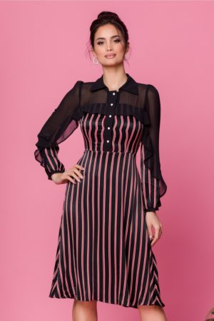 Rochie eleganta in clos neagra cu volan si dungi rosu cu alb Moze