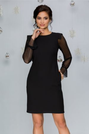Rochie de ocazie neagra cocktail cu croi lejer in A Moze