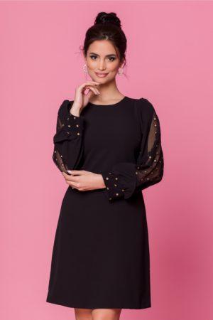 Rochie scurta eleganta neagra cu maneci lungi decorate cu sclipici Moze