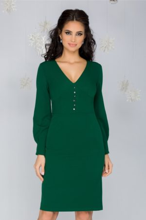 Rochie de ocazie verde midi eleganta cu maneci lungi si nasturi la bust Moze