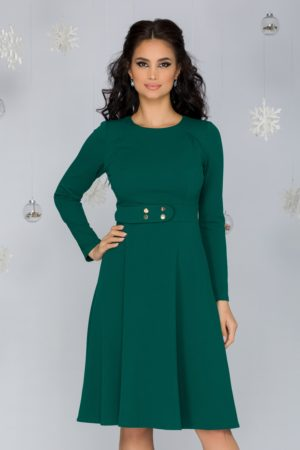 Rochie eleganta in clos verde office cu maneci lungi si curea discreta in talie Moze