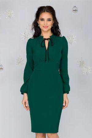 Rochie eleganta midi verde office cu guler tunica si maneci lungi usor bufante Moze