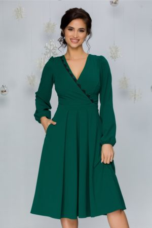 Rochie midi in clos verde cu decolteu in V petrecut si maneci lungi Moze