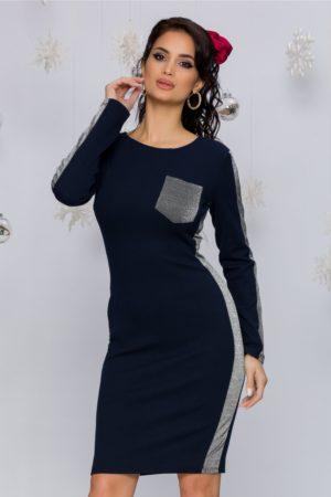 Rochie de zi casual bleumarin cu maneci lungi realizata din material elastic Nastya