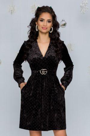 Rochie eleganta de ocazie neagra din catifea cu aplicatii metalice Nora