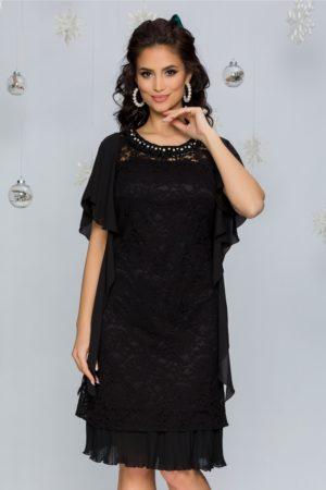 Rochie de seara neagra din dantela florala cu decolteu rotund elegant Olivia