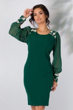 Rochie eleganta de seara verde cu maneci din voal accesorizata cu fir auriu stralucitor Oriana