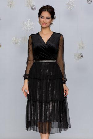 Rochie eleganta de nunta neagra cu argintiu cu strasuri in talie si volane Pixa