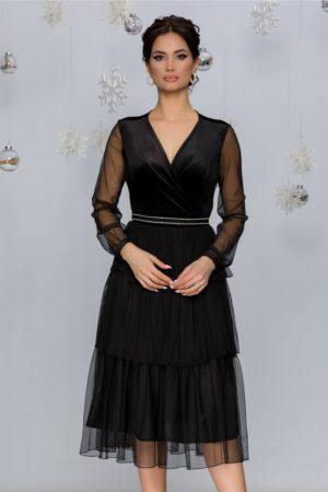 Rochie de ocazie neagra cu strasuri in talie si volane Pixa
