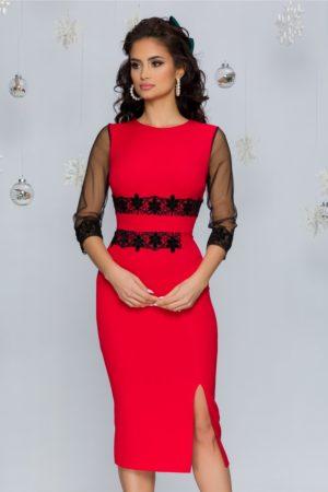 Rochie eleganta midi rosie cu aplicatii din broderie florala neagra Reka