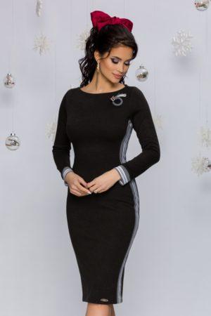 Rochie sexy tricotata neagra conica cu maneci lungi si decolteu rotund Rhonda