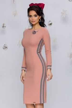 Rochie sexy tricotata roz prafuit conica cu maneci lungi si decolteu rotund Rhonda
