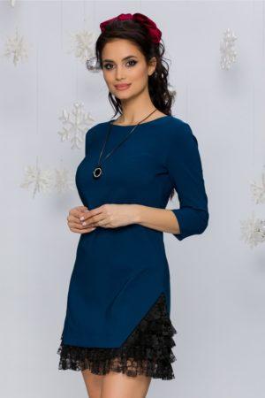 Rochie scurta albastru petrol din stofa accesorizata cu dantela neagra Roona