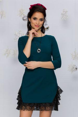 Rochie scurta verde inchis din stofa accesorizata cu dantela bleumarin Roona