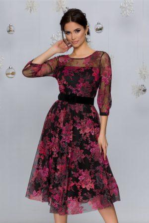 Rochie eleganta midi neagra cu imprimeu floral catifelat in nuante de roz Rosy