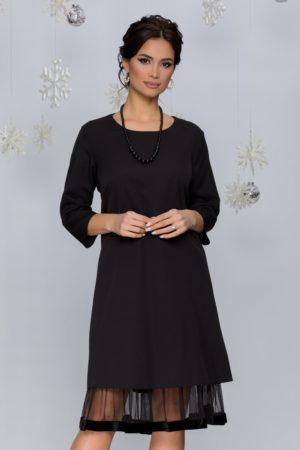 Rochie midi neagra eleganta cu volan din tull si catifea la baza Sara