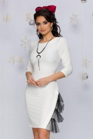 Rochie eleganta alba cu mini paiete accesorizata cu tull delicat la baza Sasha