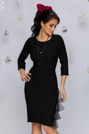 Rochie eleganta neagra cu mini paiete accesorizata cu tull delicat la baza Sasha