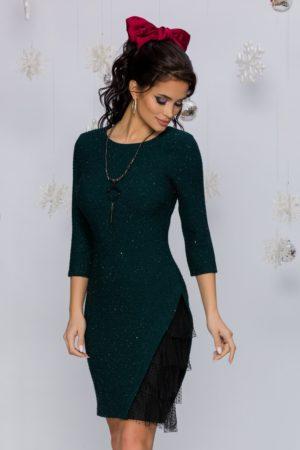 Rochie eleganta verde inchis cu mini paiete accesorizata cu tull delicat la baza Sasha