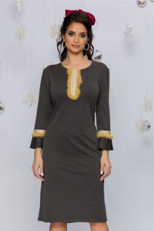 Rochie de zi eleganta gri cu insertii din puf bej Sonia