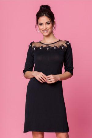 Rochie de zi neagra eleganta accesorizata cu tull delicat si flori 3D la bust Sorana