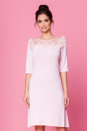 Rochie de zi roz eleganta accesorizata cu tull delicat si flori 3D la bust Sorana
