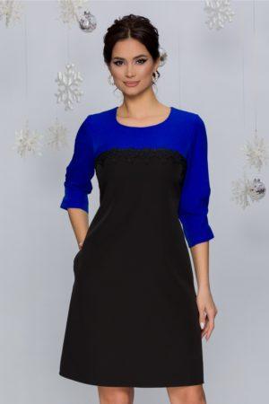 Rochie eleganta albastru cu negru prevazuta cu maneci trei sferturi Sorina