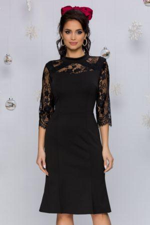Rochie midi neagra eleganta cu insertii din dantela Tania