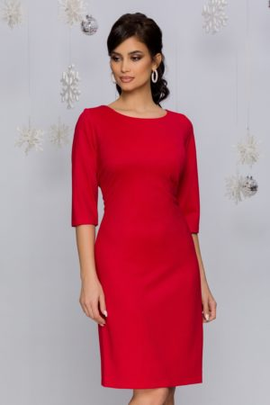 Rochie midi eleganta rosie cu maneci trei sferturi si decolteu rotund Teresa