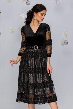 Rochie de seara neagra eleganta cu argintiu si insertii din fir lurex Tessa
