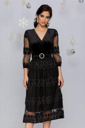 Rochie de seara neagra eleganta din catifea cu dantela Tessa