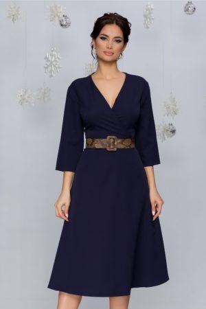 Rochie de ocazie bleumarin cu motive florale intr-o croiala in clos midi Thalia