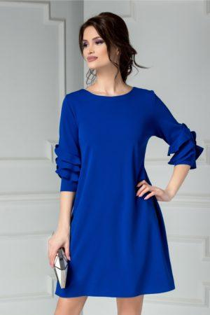 Rochie de zi eleganta albastra cu croi larg si maneci trei sferturi Tora