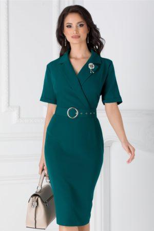 Rochie midi eleganta office verde cu maneci scurte si decolteu in V Vanya