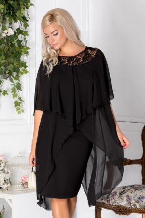 Rochie eleganta din voal negru de seara cu broderie si croiala dreapta Verona