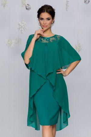 Rochie eleganta din voal verde de seara cu broderie si croiala dreapta Verona
