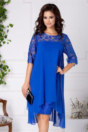 Rochie eleganta albastra de seara cu croiala larga vaporoasa din voal si dantela Verra