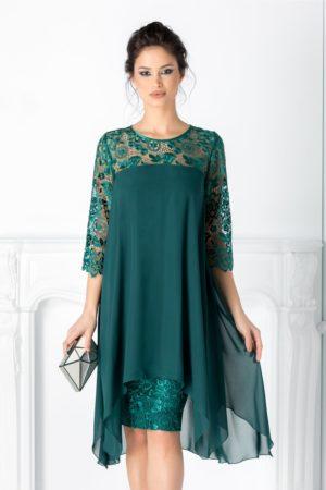 Rochie eleganta verde de seara cu croiala larga vaporoasa din voal si dantela Verra