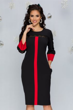 Rochie midi eleganta neagra cu insertii rosii si aplicatii din broderie florala Zelika